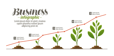 growth chart: Business concept, infographic. Template for presentation, graph, diagram, chart. Vector illustration. Illustration
