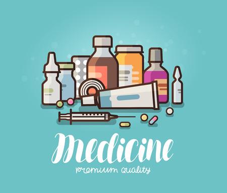 Modern medicine, pharmacy banner. Medication, pills, bottles, pharmaceutics concept. Cartoon vector illustration