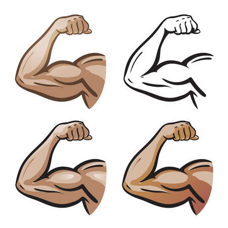 pugilism: Strong male arm, hand muscles, biceps icon or symbol. Gym, health, protein logo. Cartoon vector illustration