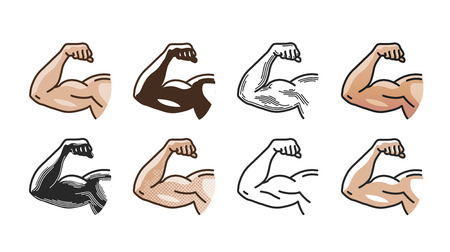 salud y deporte: Arm muscles, strong hand icon or symbol. Gym, sports, fitness, health concept. Vector illustration