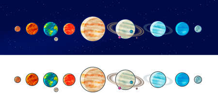 Solar system planets. Space, universe, galaxy concept. Vector illustration Illustration
