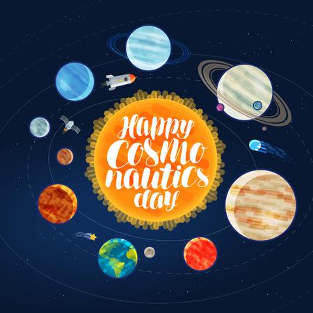 Bonne journée de cosmonautique, bannière. Espace extérieur, cosmos, galaxie, planètes et concept d'étoiles. Illustration vectorielle de dessin animé Banque d'images - 79638853
