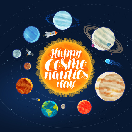 Happy cosmonautics day, banner. Outer space, cosmos, galaxy, planets and stars concept. Cartoon vector illustration Illustration