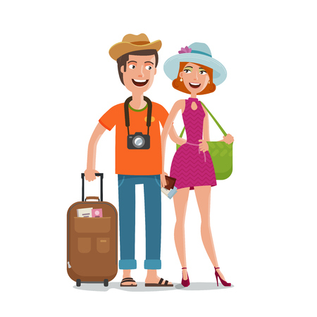 camper: Travel, journey, honeymoon trip concept. People, couple goes on vacation with bags in hands. Cartoon vector illustration