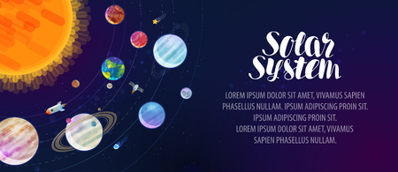 Solar system, banner. Space, sun, planets, comets, stars and constellations concept. Vector illustration Illustration
