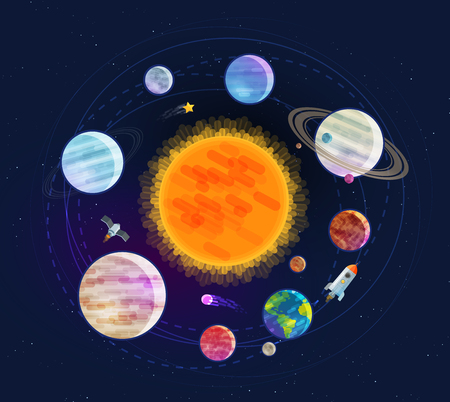 Astronomy, space, astrology concept. Solar system, planets, stars. Cartoon vector illustration