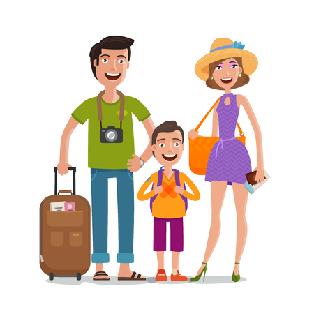 girl: Journey, trip, vacation. Happy family travels. Cartoon vector illustration