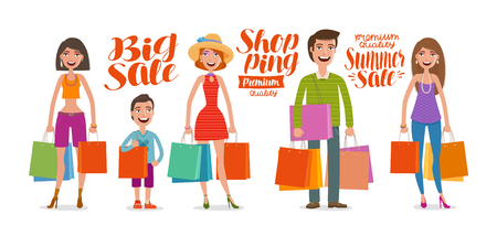 Shop, fashion, sale concept. People, man and woman with bags for shopping. Cartoon vector illustration