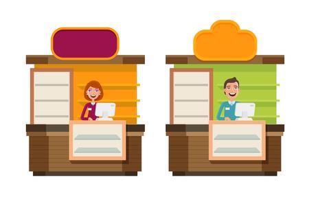 Shop, store, counter, shopping icon. Storefront, showcase, exhibition stand, exhibit, reception, show concept. Cartoon vector illustration