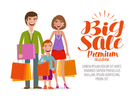 Big sale banner. Happy family with shopping bags. Cartoon vector illustration