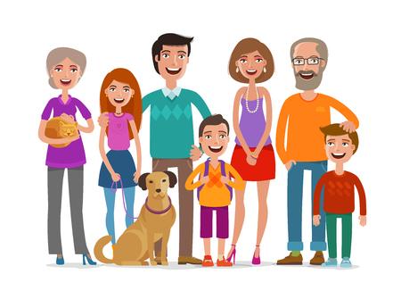 大きな幸せな家族。人々、両親、子供の概念のグループ。漫画のベクトル図
