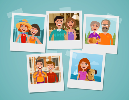 image: Family photo album. People, parents and children concept. Cartoon vector illustration