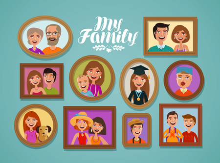 Family photos in frames. People, parents and children concept. Cartoon vector illustration Illustration