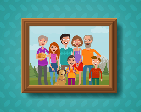 kindred: Family photo on wall in wooden frame. Cartoon vector illustration Illustration