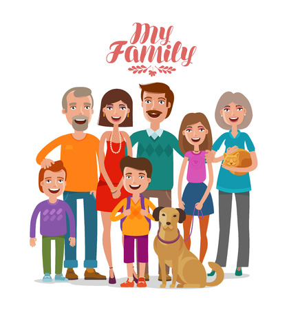 Family portrait. Happy people, parents and children. Cartoon vector illustration
