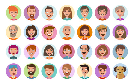face to face: People icons set. Avatar profile, diverse faces, social network, chat symbol. Cartoon vector illustration flat style