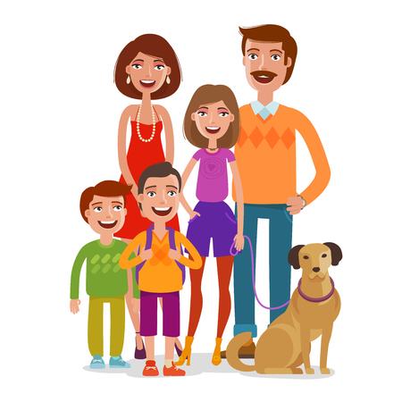 demografia: Retrato familiar. Gente feliz, niños, padres. Ilustración vectorial de dibujos animados