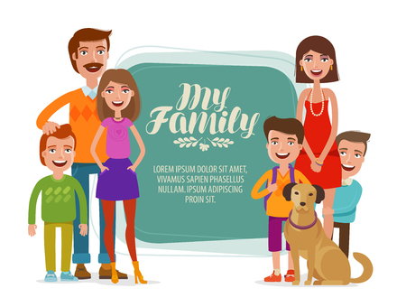 girl: Family banner. Happy people, parents and children. Cartoon vector illustration Illustration