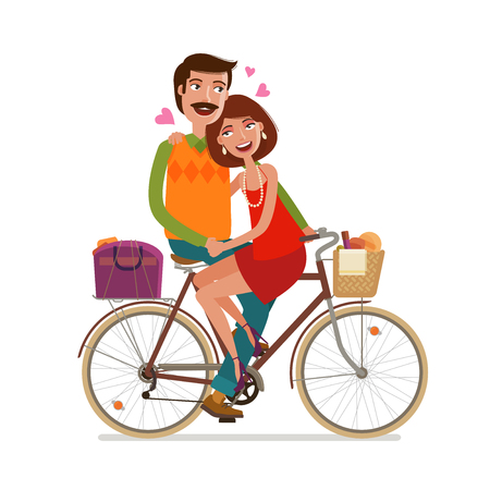 wedded: Loving couple riding on picnic by bicycle. Cartoon vector illustration