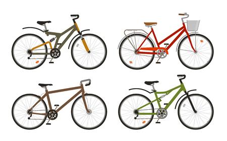Bike, bicycle set icons. Cycling, transport concept. Vector illustration