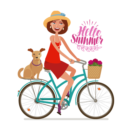 Beautiful girl riding bicycle. Perfect getaway, vacation, journey icon. Cartoon vector illustration isolated on white background