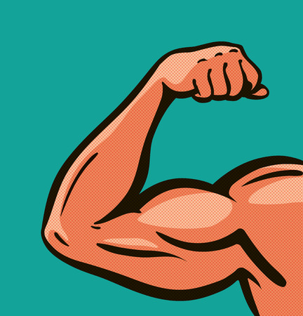 Strong arm, muscles, gym. Comics style design. Vector illustration Illustration