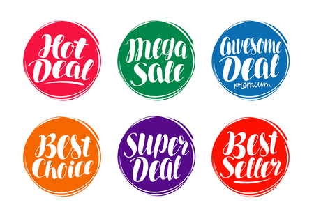 Sale label set. Hot deal, best choice, seller icon or symbol. Handwritten lettering, calligraphy vector illustration Illustration