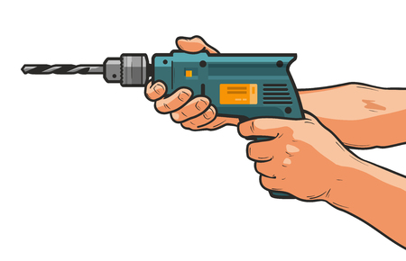 Drill in hand. Building, repair, housework, construction tool concept. Cartoon vector illustration