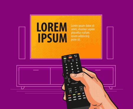 fingers: TV, remote control banner. Video, cinema, movie, film, television advertising concept.