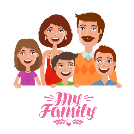 kindred: Happy family. People, parents and children concept. Cartoon vector illustration