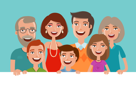 Happy cheerful family, banner. People, children and parents concept. Cartoon vector illustration