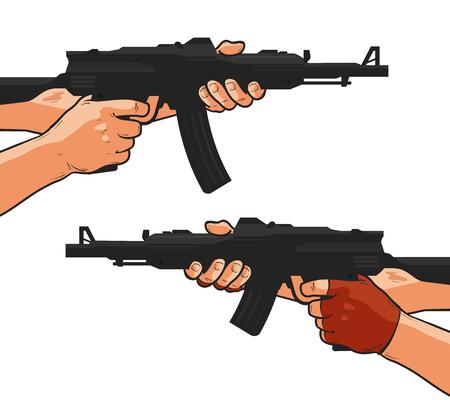Assault rifle, small arm, machine gun, shotgun. Cartoon comics style vector illustration