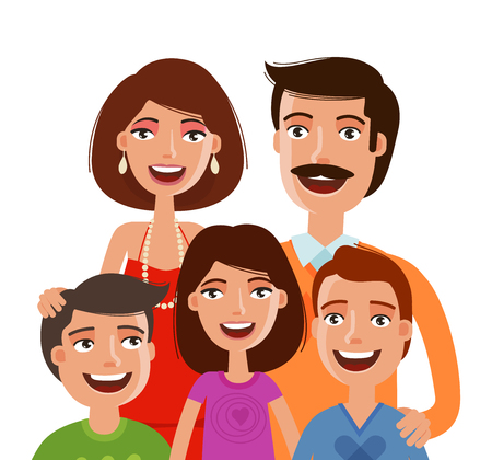 Happy large family, portrait. People, parents and children. Cartoon vector illustration