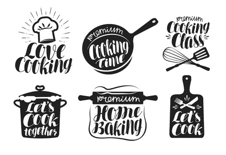 Cooking label set. Cook, food, eat, home baking icon or logo. Lettering, calligraphy vector illustration Logo