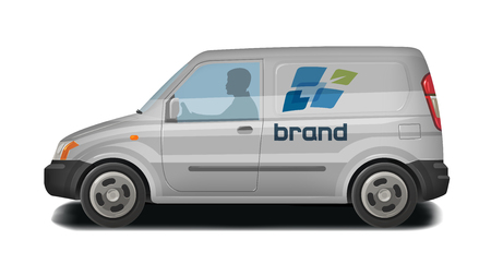 truck: Car, vehicle, van icon. Delivery, cargo transportation, transport, traffic identity. Vector illustration