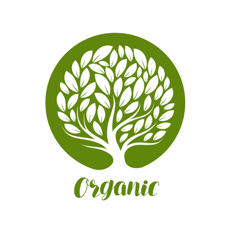 Rbol decorativo abstracto con hojas. Ecología, etiqueta o logotipo natural, orgánico. Ilustración vectorial Foto de archivo - 81014452