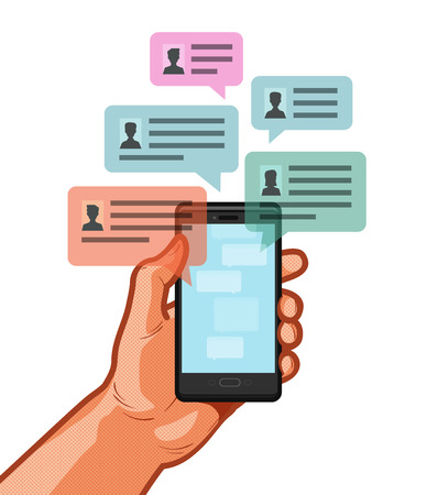 Smartphone, mobile phone in hand. Chatting, chat message, online talking concept. Vector illustration