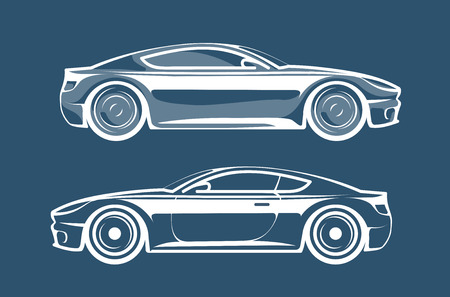 Sports car silhouette. Race, vehicle, automobile icon or logo. Vector illustration Illustration