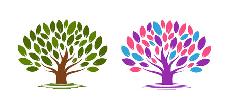 Abstract tree with leaves. Ecology, eco, environment nature icon or logo. Vector illustration