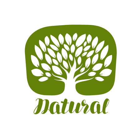 tree logo: Tree with leaves label or logo. Natural, organic icon. Lettering vector illustration