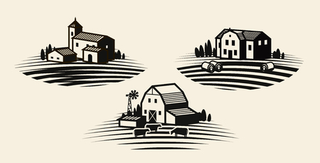Farm, farming label set. Agriculture, agribusiness, farmhouse icon or logo. Vector illustration Illustration