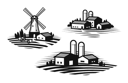 농장, 농업 레이블 집합입니다. 농가, 풍차, 농업 관련 산업, 농업 업계 아이콘 또는 로고.