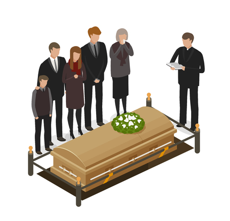 Rito fúnebre, concepto de duelo. Enterramiento, sepulcro, muerto, icono de ataúd o símbolo. Ilustración vectorial de dibujos animados