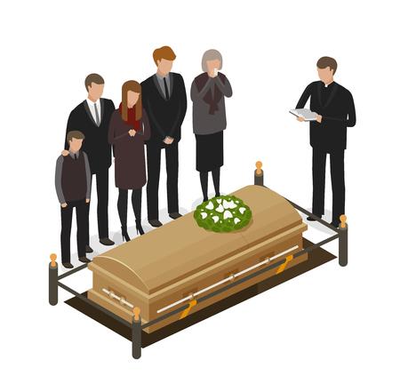 Rituel funéraire, concept de deuil. Enterrement, tombe, mort, icône ou symbole du cercueil. Illustration vectorielle de dessin animé