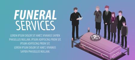 葬儀サービスのバナー。埋葬、墓地、墓地、rip、死の概念。ベクトル図