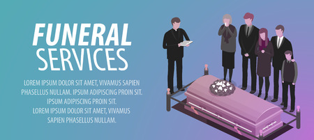 Funeral services banner. Burial, cemetery, graveyard, rip, death concept. Vector illustration
