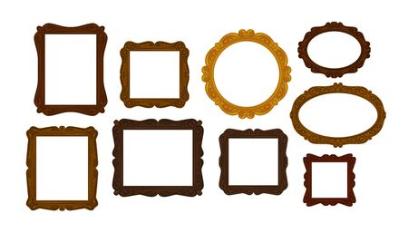 interior decoration: Collection of vintage wooden picture frames. Mirror, portrait icon or symbol. Vector illustration
