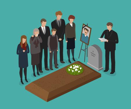 장례식, 매장 개념. 묘지, 무덤 벡터 일러스트 레이션