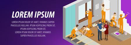 construction: Apartment repair, interior banner. Construction building vector illustration