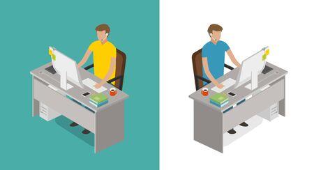 Blogger, programmer, developer, freelancer, gamer concept. Internet, web, game, computer icon or symbol. Flat vector Illustration